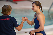 Grace Reid of Great Britain is congratulated by her coach after qualifying for the Women's Individual 3m dive at the FINA/CNSG Diving World Series 2019 at London Aquatics Centre, London, United Kingdom on 19 May 2019.