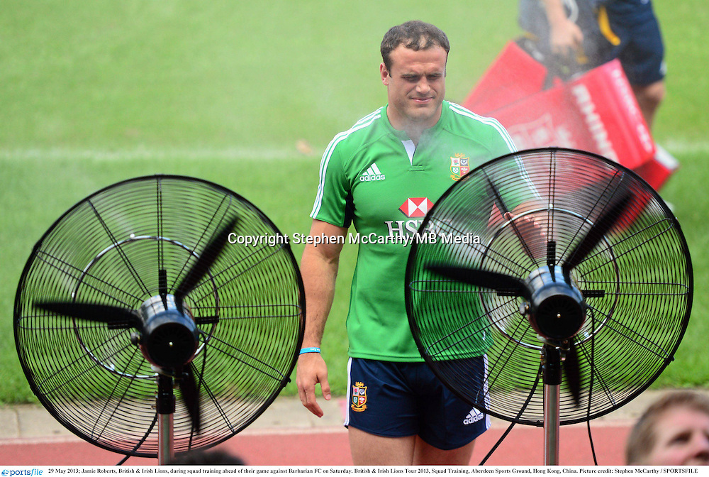 29 May 2013; Jamie Roberts, British & Irish Lions, during squad training ahead of their game against Barbarian FC on Saturday. British & Irish Lions Tour 2013, Squad Training, Aberdeen Sports Ground, Hong Kong, China. Picture credit: Stephen McCarthy / SPORTSFILE