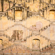 Detail of wall of step well in Jaipur