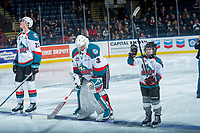 KELOWNA, CANADA - FEBRUARY 23: Pepsi player of the game Graydon McDonald waves to the crowd as he lines up beside Brodan Salmond #31 of the Kelowna Rockets against the Seattle Thunderbirds  on February 23, 2018 at Prospera Place in Kelowna, British Columbia, Canada.  (Photo by Marissa Baecker/Shoot the Breeze)  *** Local Caption ***