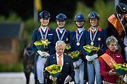 Team The Netherlands silver Juniors <br /> European Championships Dressage 2017<br /> © DigiShots