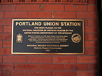 Union Station, Portland, Oregon, USA, Historic Plaque Commission, plaque, National Register of Historic Places, Station opened 14 February 1896, 200809050002..Copyright Image from Victor Patterson, 54 Dorchester Park, Belfast, UK, BT9 6RJ..Tel: +44 28 9066 1296.Mob: +44 7802 353836.Voicemail +44 20 8816 7153.Skype: victorpattersonbelfast.Email: victorpatterson@mac.com.Email: victorpatterson@ireland.com (back-up)..IMPORTANT: If you wish to use this image or any other of my images please go to www.victorpatterson.com and click on the Terms & Conditions. Then contact me by email or phone with the reference number(s) of the image(s) concerned.