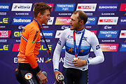 Podium, Men Road Race 230,4 km , Matteo Trentin (Italy) gold medal, Mathieu Van Der Poel (Netherlands) silver medal, during the Cycling European Championships Glasgow 2018, in Glasgow City Centre and metropolitan areas, Great Britain, Day 11, on August 12, 2018 - Photo Luca Bettini / BettiniPhoto / ProSportsImages / DPPI - Belgium out, Spain out, Italy out, Netherlands out -