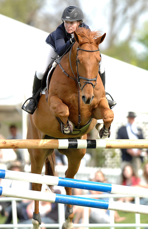 Sally Steiner riding Annandale Wickcliffe Brannigan in the World Cup Qualifier at the Hawkes Bay A & P Show, Showgrounds, Hastings, Friday, October 21, 2011. Credit: SNPA / Sarah Aldermam