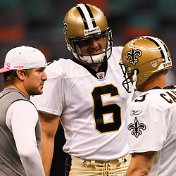 October 3, 2010; New Orleans, LA, USA; New Orleans Saints place kicker Garrett Hartley (left) talks with punter Thomas Morstead (6) and kicker John Carney (3) during warm ups prior to kickoff of a game between the New Orleans Saints and the Carolina Panthers at the Louisiana Superdome. Mandatory Credit: Derick E. Hingle