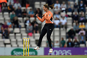 Suzie Bates of Southern Vipers celebrates the wicket of Chamari Atapattu during the Women's Cricket Super League match between Southern Vipers and Loughborough Lightning at the Ageas Bowl, Southampton, United Kingdom on 28 August 2019.