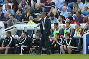 Chris Hughton Manager of Brighton & Hove Albion gives instructions during the Sky Bet Championship match between Brighton and Hove Albion and Nottingham Forest at The American Express Community Stadium, Brighton and Hove, England on 7 August 2015. Photo by Phil Duncan.