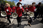 Hamburg | 01 May 2015<br /> <br /> 4000 protesters take part in the &quot;Never Mind The Papers&quot; rally for migrants and refugees in the german city of Hamburg. Picture shows a group of marching women in uniforms taking part in the demonstration.<br /> <br /> &copy;peter-juelich.com<br /> <br /> [Foto honorarpflichtig | Fees Apply | No Model Release | No Property Release]