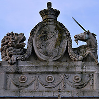Royal Coat of Arms on Custom House in Dublin, Ireland <br />
