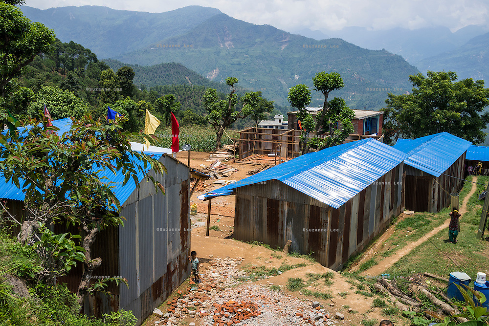 The temporary shed where the Jyugal school is now run in Chautara, Sindhupalchowk, Nepal on 29 June 2015. One of its students, Aastha (6) was buried under the rubble together with her mother but Aastha survived while her mother died on the spot. As their father Ratna Baniya (28) cannot care for the three young children on his own, SOS Childrens Villages has since been supporting the grandmother with financial and social support so that she can manage to raise the children comfortably and ensure that they will all be schooled. Photo by Suzanne Lee for SOS Children's Villages