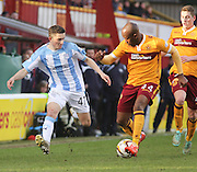 Dundee's Alex Harris runs at Motherwell's Anthony Straker - Motherwell v Dundee, SPFL Premiership at Fir Park<br /> <br />  - &copy; David Young - www.davidyoungphoto.co.uk - email: davidyoungphoto@gmail.com
