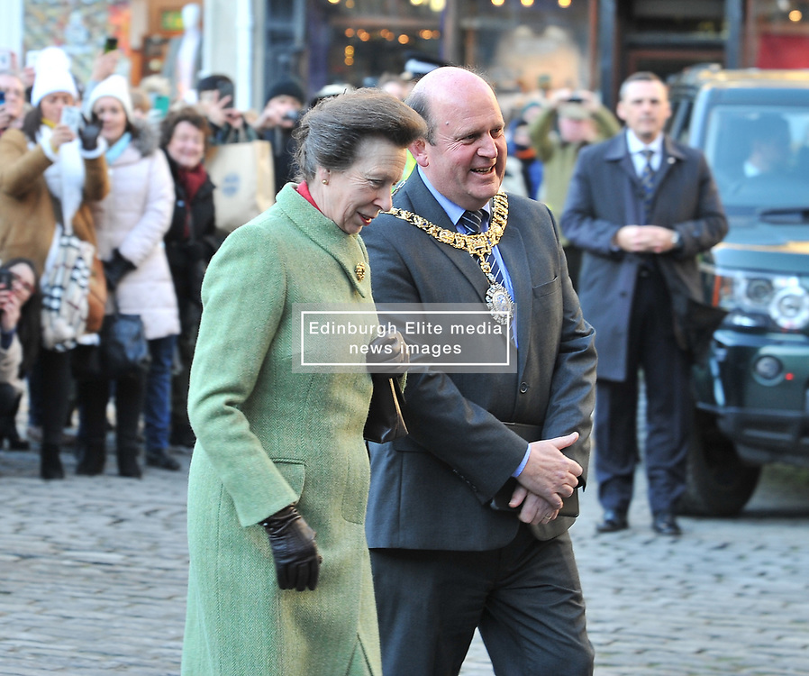 The Princess Royal is welcomed by Edinburgh's Lord robots Frank Ross as she arrives for a memorial service to pioneering WW1 medic Elsie Inglis in Edinburgh and meets descendants of the Scottish doctor.<br /> <br /> © Dave Johnston/ EEm