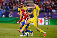 Atletico de Madrid's player Fernando Torres and CF Rostov's player Aleksandr Gatskan and Vladimir Granat during a match of UEFA Champions League at Vicente Calderon Stadium in Madrid. November 01, Spain. 2016. (ALTERPHOTOS/BorjaB.Hojas)