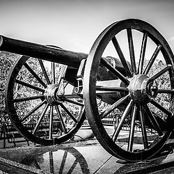 Picture of New Orleans Washington Artillery Park Cannon. The civil war cannon monument is an 1861 Parrott Rifle located in the French Quarter near Jackson Square in New Orleans Louisiana