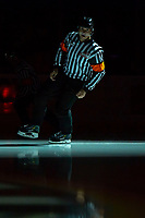 KELOWNA, BC - OCTOBER 12: Referee Tyler Adair skates onto the ice at the Kelowna Rockets against the Kamloops Blazers at Prospera Place on October 12, 2019 in Kelowna, Canada. (Photo by Marissa Baecker/Shoot the Breeze)