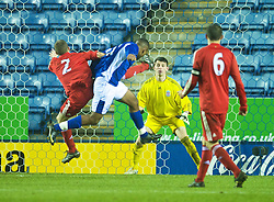 LEICESTER, ENGLAND - Tuesday, January 12, 2010: Leicester City's Abdillahie Yussuf scores his side's only goal during their FA Youth Cup 4th Round 5-1 thrashing by Liverpool at the Walkers Stadium. (Photo by David Rawcliffe/Propaganda)