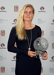 CARDIFF, WALES - Monday, October 5, 2015: Wales' Kylie Davies with the Woman's Player of the Year Award during the FAW Awards Dinner at Cardiff City Hall. (Pic by Ian Cook/Propaganda)