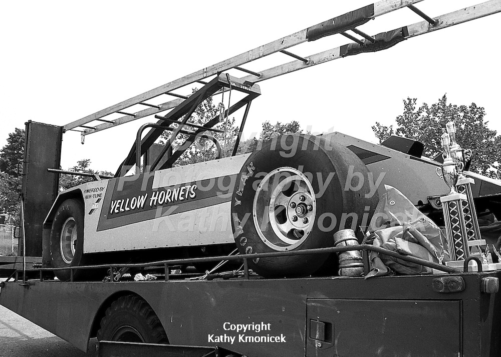 The Hempstead Fire Department Yellow Hornets racing team race car in 1981.<br />  &copy; Photography by Kathy Kmonicek