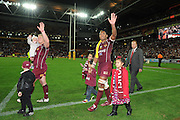 July 6th 2011: Maroons, Petero Civoniceva and Ben Hannant thank fans with their children on the field after game 3 of the 2011 State of Origin series at Suncorp Stadium in Brisbane, QLD, Australia on July 6, 2011. Photo by Matt Roberts / mattrimages.com.au / QRL