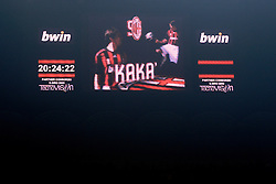 Ricardo Kaka's (Milan)image appears on the tv screen before the Serie A match against Fiorentina on January 17, 2009 at San Siro Stadium in Milan. AC Milan defeated Fiorentina 1-0.