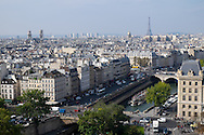 The Eiffel Tower rises in the distance in a view from Notre Dame cathedral. The river Seine flows in the foreground.