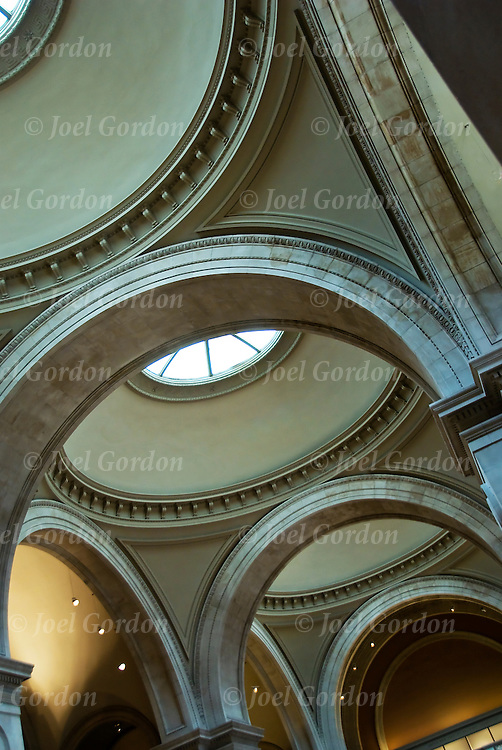 Close up of curves in architecture in the Great Hall in the Metropolitan Museum of Art,
