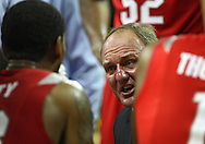 January 04 2010: Ohio State Buckeyes head coach Thad Matta talks with his team during a timeout in the second half of an NCAA college basketball game at Carver-Hawkeye Arena in Iowa City, Iowa on January 04, 2010. Ohio State defeated Iowa 73-68.