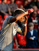 Paul Pogba (6) of Manchester United pours water over his head to cool down while warming up before the Premier League match between Bournemouth and Manchester United at the Vitality Stadium, Bournemouth, England on 18 April 2018. Picture by Graham Hunt.