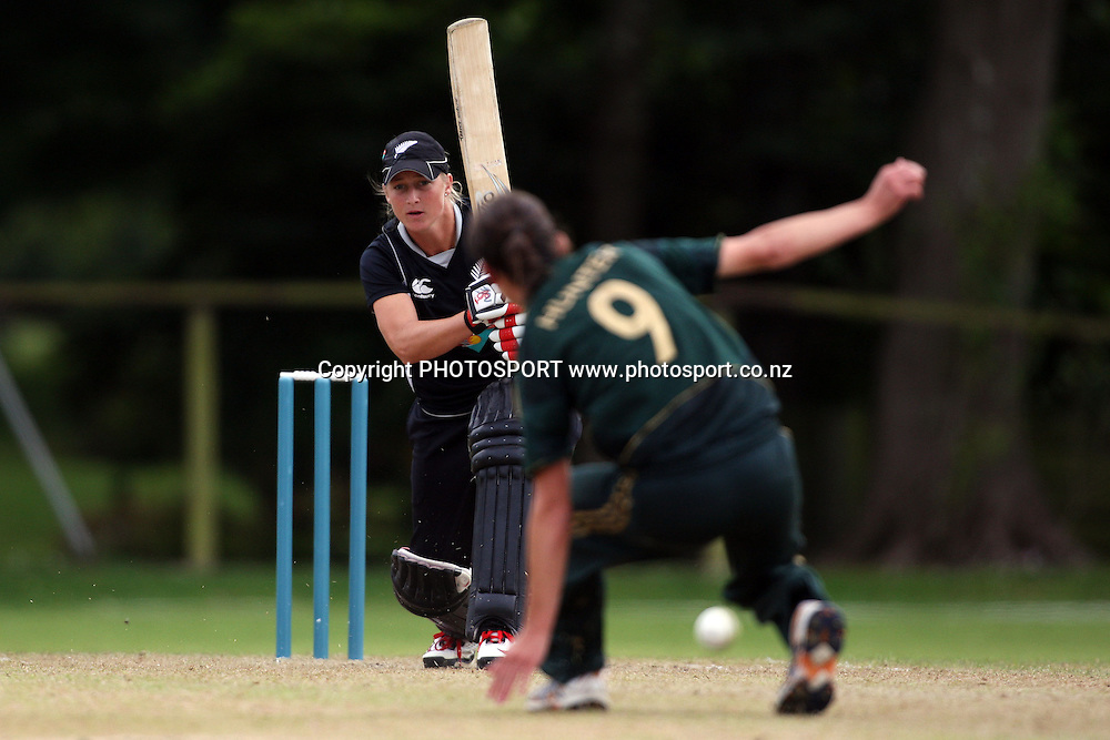 Sophie Devine hits one past bowler Julie Hunter, New Zealand White Ferns v Australia, Rosebowl cricket series, One day international, Queens Park, Invercargill. 7 March 2010. Photo: William Booth/PHOTOSPORT