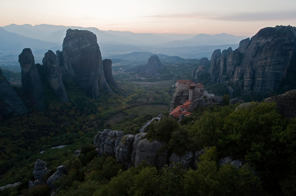 Greece, Meteora, Roussanou Monastery in gloaming light