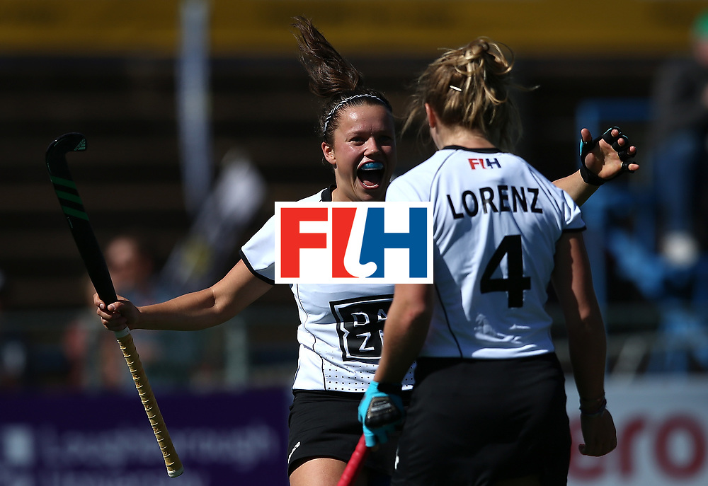 JOHANNESBURG, SOUTH AFRICA - JULY 16:  Charlotte Stapenhorst and Nike Lorenz of Germany celebrates the winning goal during day 5 of the FIH Hockey World League Women's Semi Finals Pool A match between Japan and Germany at Wits University on July 16, 2017 in Johannesburg, South Africa.  (Photo by Jan Kruger/Getty Images for FIH)