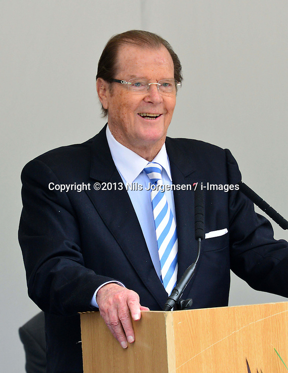 Michael Winner public memorial.  <br /> Sir Roger Moore during the Memorial.<br /> Memorial takes place at the National Police Memorial. The film director and food critic helped establish, following his death on January 23 2013. <br /> Geraldine Winner, Sir Michael Parkinson, Sir Michael Caine, Sir Roger Moore, Cilla Black, Carol Vorderman, Sir Terence Conran, give eulogies, <br /> London, United Kingdom<br /> Sunday, 23rd June 2013<br /> Picture by Nils Jorgensen / i-Images