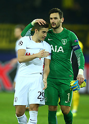 November 21, 2017 - Dortmund, Germany - L-R Tottenham Hotspur's Harry Winks and Tottenham Hotspur's Hugo Lloris.during UEFA Champion League Group H Borussia Dortmund between Tottenham Hotspur played at Westfalenstadion, Dortmund, Germany 21 Nov 2017  (Credit Image: © Kieran Galvin/NurPhoto via ZUMA Press)