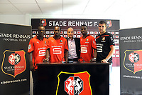 FOOTBALL - MISCS - FRENCH CHAMPIONSHIP 2010/2011 - STADE RENNAIS - 29/06/2010 - PHOTO PASCAL ALLEE / DPPI - PRESENTATION NEWS PLAYERS OF RENNES - LEFT TO RIGHT : VICTOR HUGO MONTANO / ONYEKACHI APAM / PIERRE DREOSSI / GEORGES MABDJECK / JOHANN CARRASSO