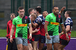 Bristol Bears United players celebrate Tom Pincus' opening try - Mandatory by-line: Paul Knight/JMP - 02/12/2018 - RUGBY - Clifton RFC - Bristol, England - Bristol Bears United v Harlequins - Premiership Rugby Shield