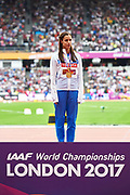 Great Britain, London - 2017 August 07: Ekaterini Stefanidi from Greece celebrates her gold medal while awarding ceremony in women&rsquo;s pole vault  during IAAF World Championships London 2017 Day 4 at London Stadium on August 07, 2017 in London, Great Britain.<br /> <br /> Mandatory credit:<br /> Photo by &copy; Adam Nurkiewicz<br /> <br /> Adam Nurkiewicz declares that he has no rights to the image of people at the photographs of his authorship.<br /> <br /> Picture also available in RAW (NEF) or TIFF format on special request.<br /> <br /> Any editorial, commercial or promotional use requires written permission from the author of image.