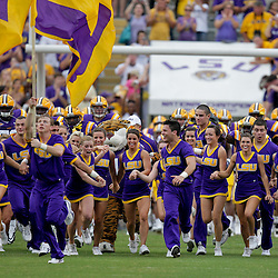 19 September 2009: The LSU Tigers cheerleaders and players run onto the field before the start of a 31-3 win by the LSU Tigers over the University of Louisiana-Lafayette Ragin Cajuns at Tiger Stadium in Baton Rouge, Louisiana.