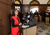 Ruth Sterling from Let It Shine welcomes and thanks Laconia as the host of the 25th anniversary New Hampshire Pumpkin Festival during Friday afternoon's press conference at the Laconia Train Station.   (Karen Bobotas/for the Laconia Daily Sun)