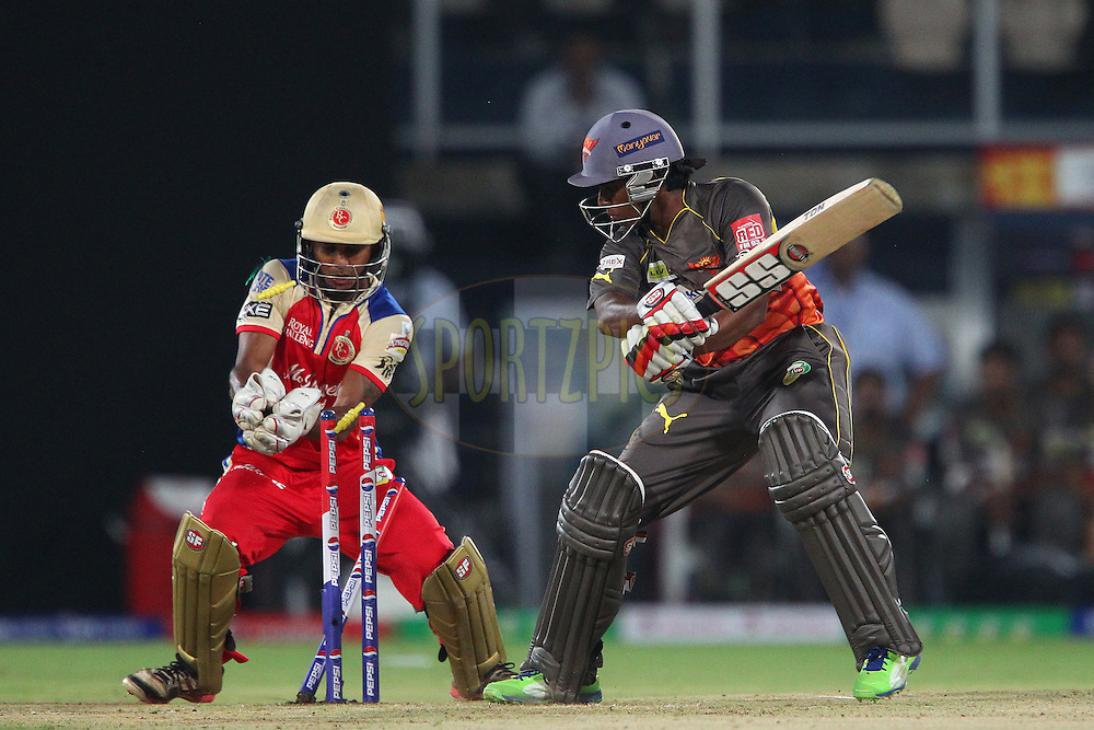 Akshath Reddy is bowled by Muttiah Muralitharan during match 7 of the Pepsi Indian Premier League between The Sunrisers Hyderabad and Royal Challengers Bangalore held at the Rajiv Gandhi International  Stadium, Hyderabad  on the 7th April 2013..Photo by Ron Gaunt-IPL-SPORTZPICS   ..Use of this image is subject to the terms and conditions as outlined by the BCCI. These terms can be found by following this link:..http://www.sportzpics.co.za/image/I0000SoRagM2cIEc