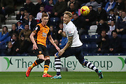 Sam Clucas strikes for Hull City during the Sky Bet Championship match between Preston North End and Hull City at Deepdale, Preston, England on 28 December 2015. Photo by Pete Burns.