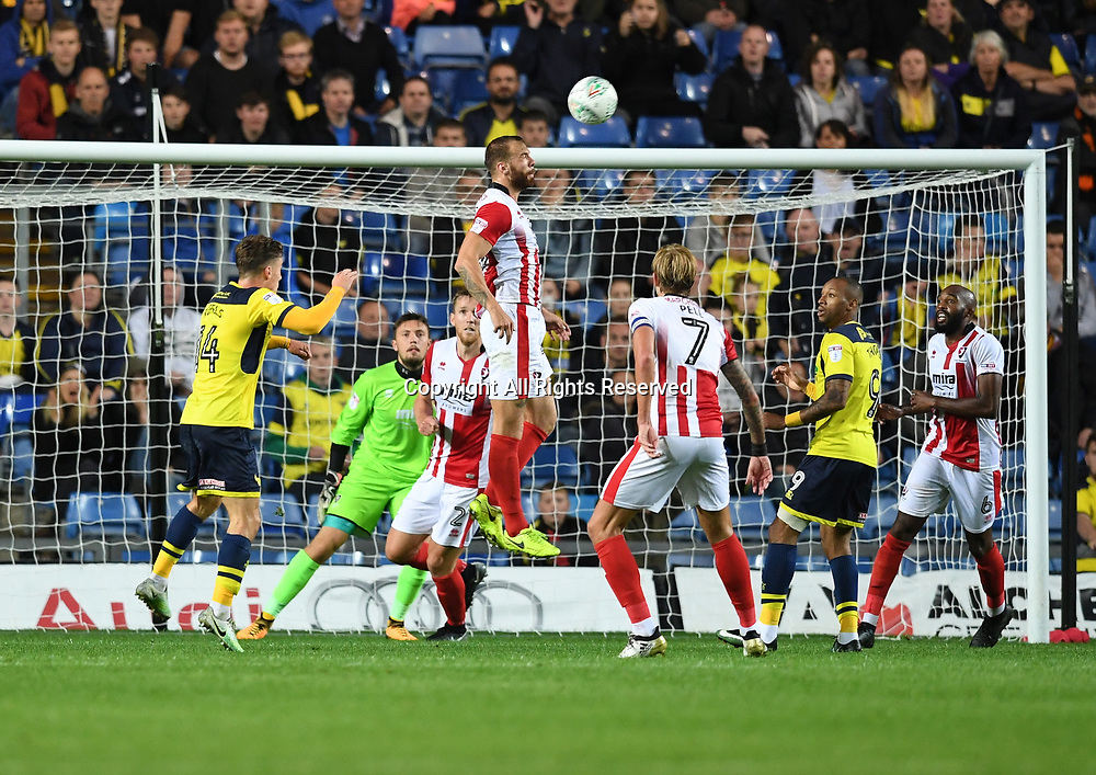 August 8th 2017, Kassam Stadium, Oxford, England; Carabao Cup First Round; Oxford United versus Cheltenham; Jordon Forster of Cheltenham defends the cross