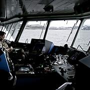 Three weeks aboard the Kong Harald. Hurtigruten, the Coastal Express. The bridge of the Kong Harald.
