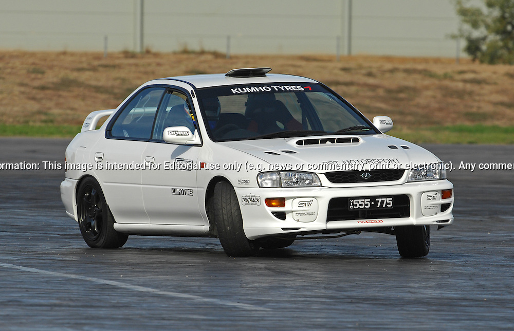Cristian Brunelli & Tarmac Magazines Subaru Impreza Type RA Replica.SAU Deca Motorkhana .Shepparton, Victoria .23rd of May 2009.(C) Joel Strickland Photographics.Use information: This image is intended for Editorial use only (e.g. news or commentary, print or electronic). Any commercial or promotional use requires additional clearance.