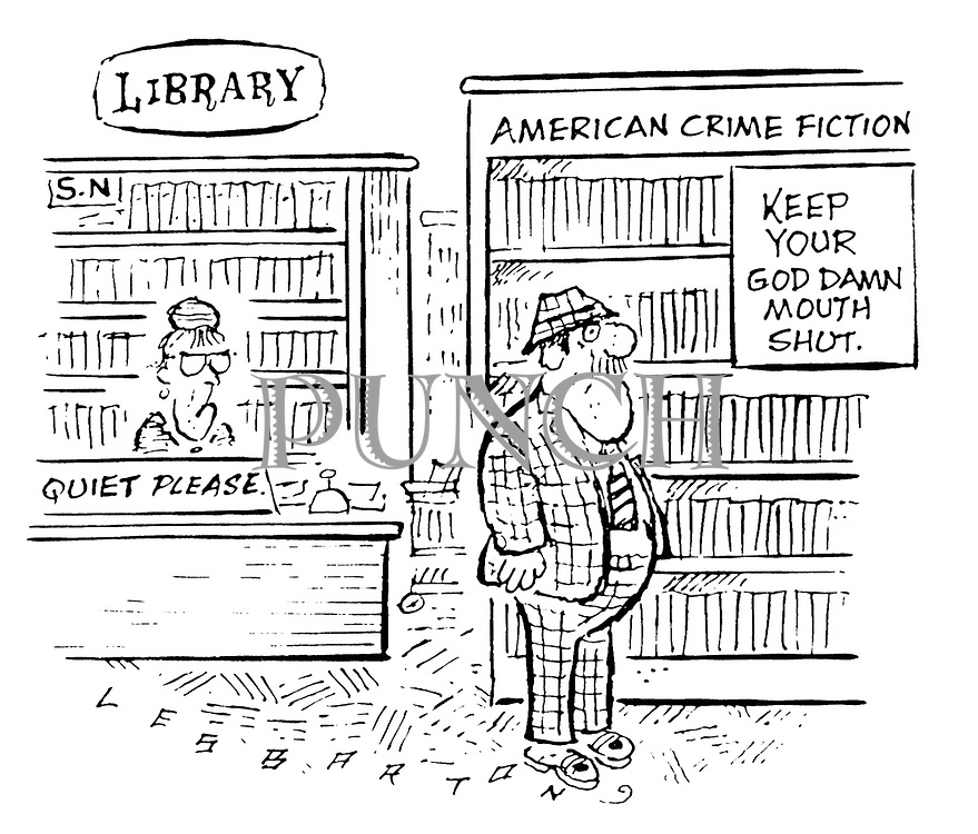 (Sign in Crime section of a public library reads 'Keep your God damn mouth shut')