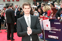 © Licensed to London News Pictures. 10/04/2014, UK. Andrew Garfield, The Amazing Spider-Man 2 - World film premiere, Odeon Leicester Square, London UK, 10 April 2014. Photo credit : Richard Goldschmidt/Piqtured/LNP