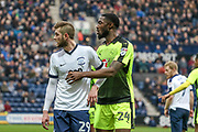 Reading Defender Tyler Blackett and Tom Barkhuizen during the EFL Sky Bet Championship match between Preston North End and Reading at Deepdale, Preston, England on 11 March 2017. Photo by Pete Burns.