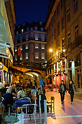 Night scene in Lisbon's Chiado neighborhood.