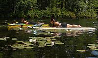 Sup Yoga at EKAL in Meredith and Center Harbor.  ©2015 Karen Bobotas Photographer