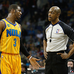 February 12, 2011; New Orleans, LA, USA; New Orleans Hornets point guard Chris Paul (3) talks with an official during the first quarter of a game against the Chicago Bulls at the New Orleans Arena.   Mandatory Credit: Derick E. Hingle