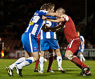 Picture by David Horn/Focus Images Ltd +44 7545 970036.16/10/2012.Ben Chorley (right) of Leyton Orient and Steve Howard (left) of Hartlepool United wrestle in the Leyton Orient box waiting for a free kick to be taken during the npower League 1 match at the Matchroom Stadium, London.